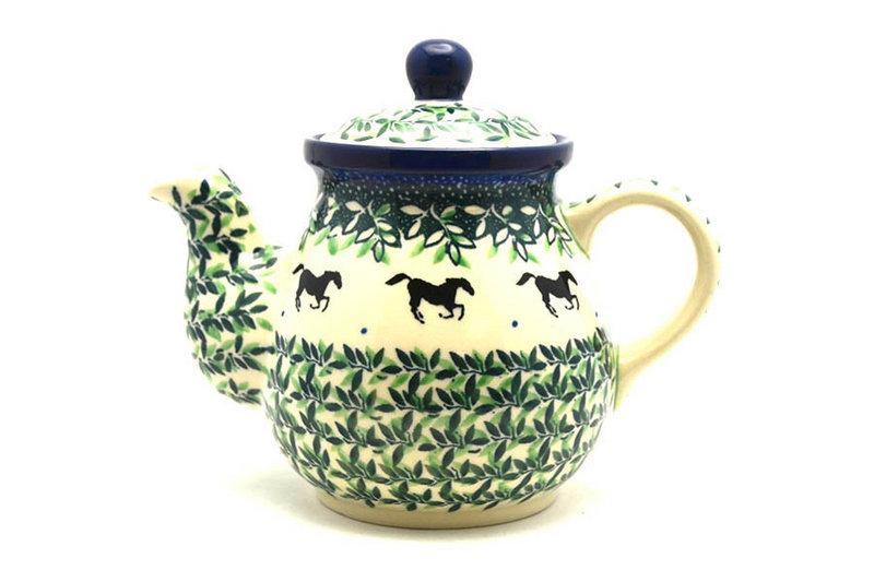 Ceramika Artystyczna Polish Pottery Gooseneck Teapot - 20 oz. - Dark Horse 119-2241a (Ceramika Artystyczna)
