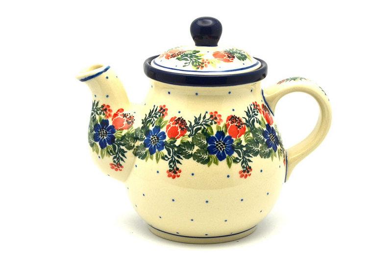 Ceramika Artystyczna Polish Pottery Gooseneck Teapot - 20 oz. - Garden Party 119-1535a (Ceramika Artystyczna)
