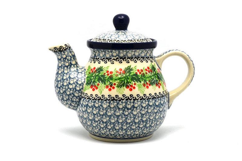Ceramika Artystyczna Polish Pottery Gooseneck Teapot - 20 oz. - Holly Berry 119-1734a (Ceramika Artystyczna)