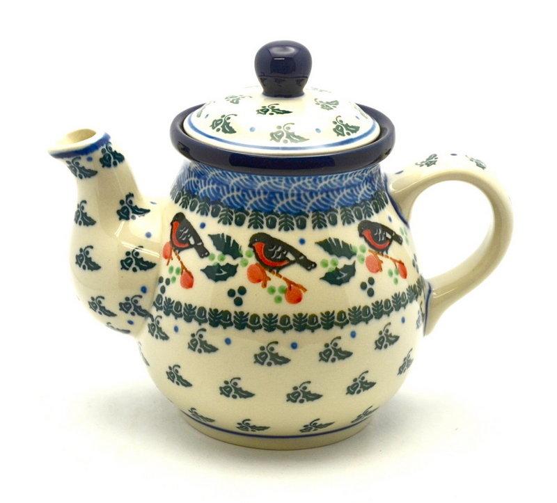 Ceramika Artystyczna Polish Pottery Gooseneck Teapot - 20 oz. - Red Robin 119-1257a (Ceramika Artystyczna)
