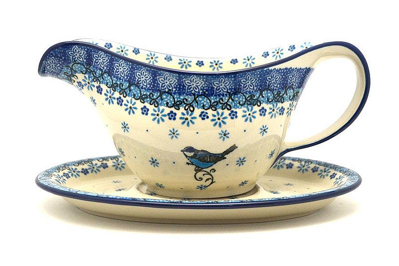 Ceramika Artystyczna Polish Pottery Gravy Boat - Bluebird 239-2529a (Ceramika Artystyczna)