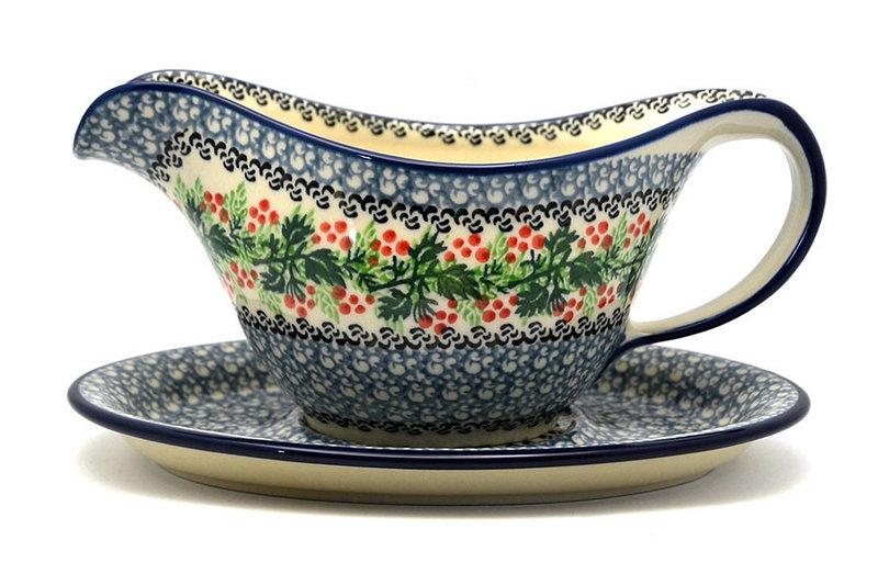 Ceramika Artystyczna Polish Pottery Gravy Boat - Holly Berry 239-1734a (Ceramika Artystyczna)