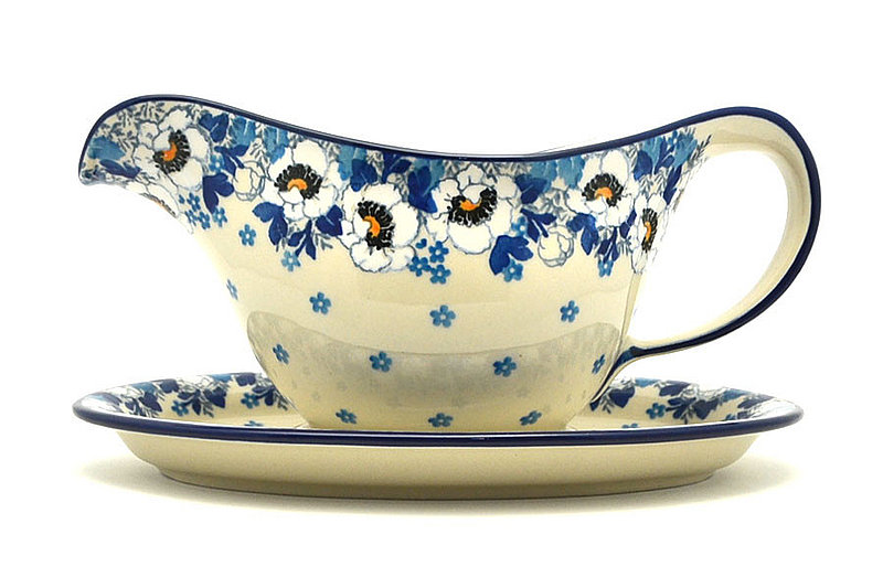 Ceramika Artystyczna Polish Pottery Gravy Boat - White Poppy 239-2222a (Ceramika Artystyczna)