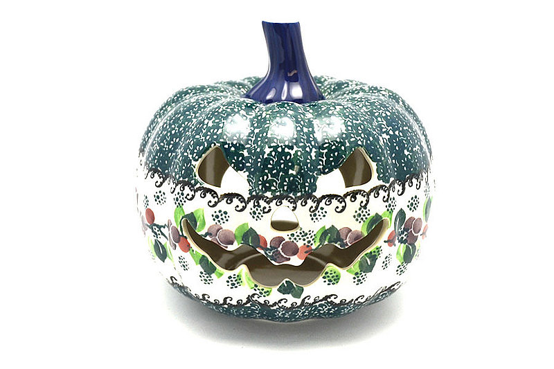 Ceramika Artystyczna Polish Pottery Jack-o-lantern - Large - Burgundy Berry Green D40-1415a (Ceramika Artystyczna)