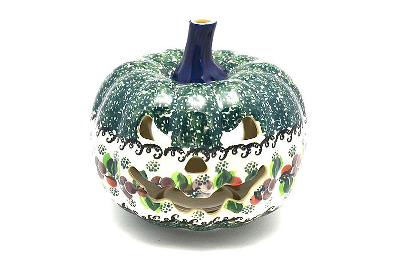 Ceramika Artystyczna Polish Pottery Jack-o-lantern - Small - Burgundy Berry Green D41-1415a (Ceramika Artystyczna)