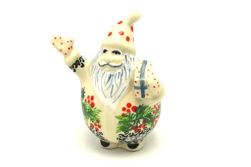 Ceramika Artystyczna Polish Pottery Jolly Santa Figurine - Holly Berry E13-1734a (Ceramika Artystyczna)