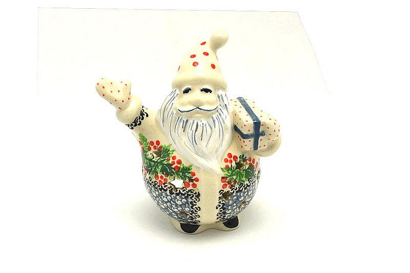 Ceramika Artystyczna Polish Pottery Jolly Santa Luminary - Holly Berry E05-1734a (Ceramika Artystyczna)
