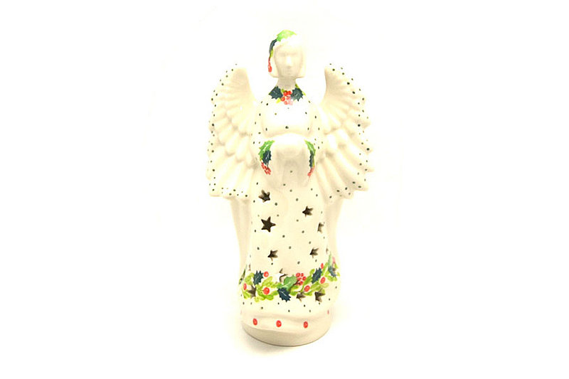 Ceramika Artystyczna Polish Pottery Large Angel Luminarz - Christmas Holly C68-2541a (Ceramika Artystyczna)