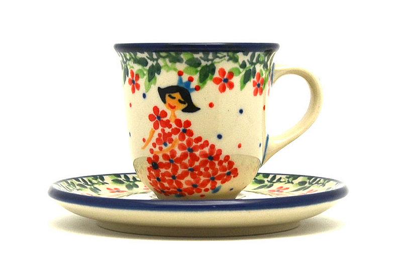 Ceramika Artystyczna Polish Pottery Little Tea Cup & Saucer - Crown Princess B10-2286a (Ceramika Artystyczna)