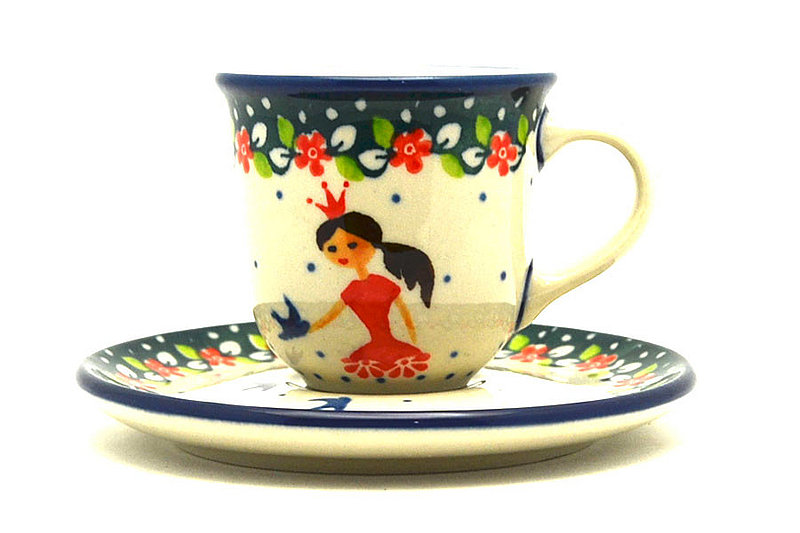 Ceramika Artystyczna Polish Pottery Little Tea Cup & Saucer - Fairy Princess B10-2523a (Ceramika Artystyczna)