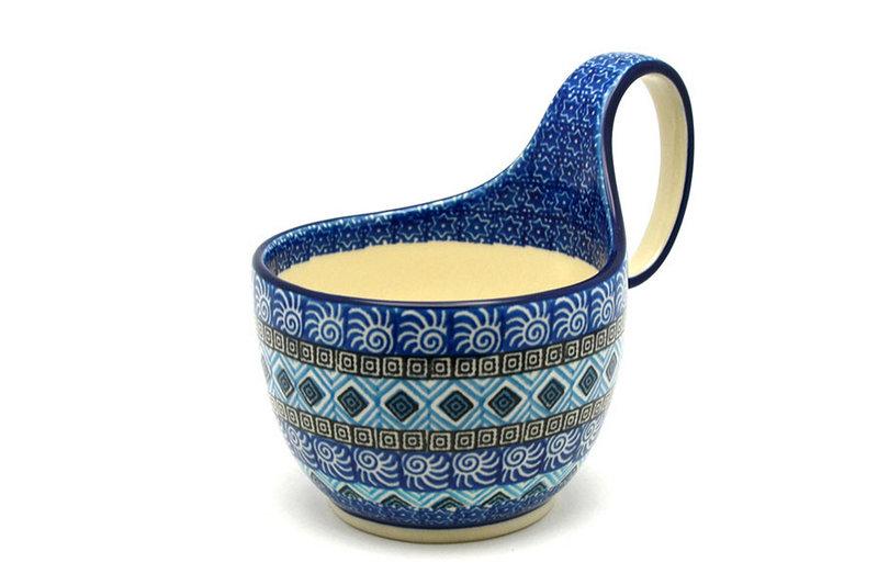 Ceramika Artystyczna Polish Pottery Loop Handle Bowl - Aztec Sky 845-1917a (Ceramika Artystyczna)