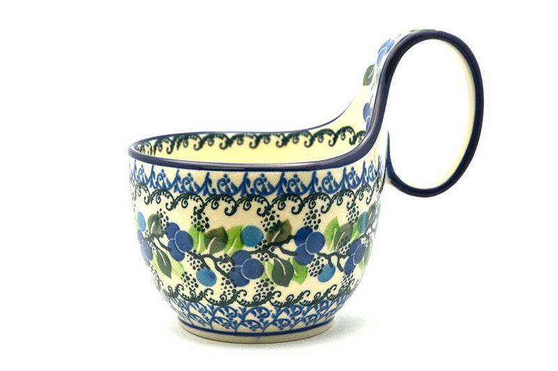 Ceramika Artystyczna Polish Pottery Loop Handle Bowl - Blue Berries 845-1416a (Ceramika Artystyczna)