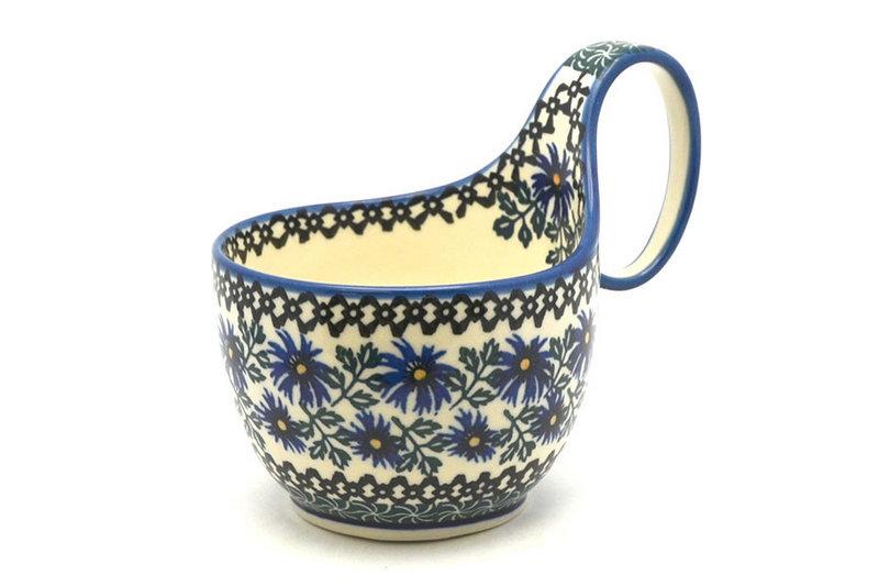 Ceramika Artystyczna Polish Pottery Loop Handle Bowl - Blue Chicory 845-976a (Ceramika Artystyczna)