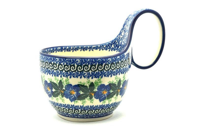 Ceramika Artystyczna Polish Pottery Loop Handle Bowl - Blue Pansy 845-1552a (Ceramika Artystyczna)