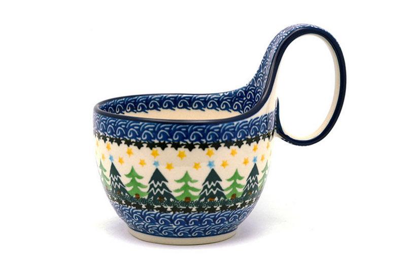 Ceramika Artystyczna Polish Pottery Loop Handle Bowl - Christmas Trees 845-1284a (Ceramika Artystyczna)