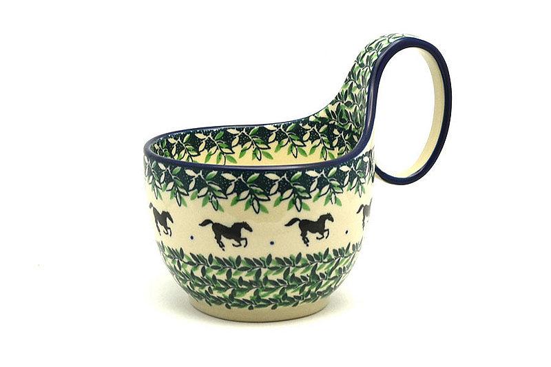 Ceramika Artystyczna Polish Pottery Loop Handle Bowl - Dark Horse 845-2241a (Ceramika Artystyczna)