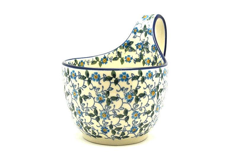 Ceramika Artystyczna Polish Pottery Loop Handle Bowl - Forget-Me-Knot 845-2089a (Ceramika Artystyczna)
