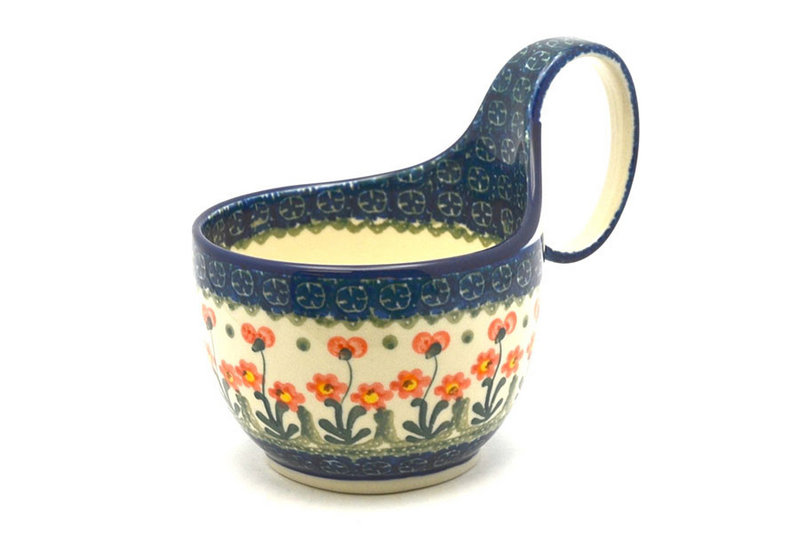 Ceramika Artystyczna Polish Pottery Loop Handle Bowl - Peach Spring Daisy 845-560a (Ceramika Artystyczna)