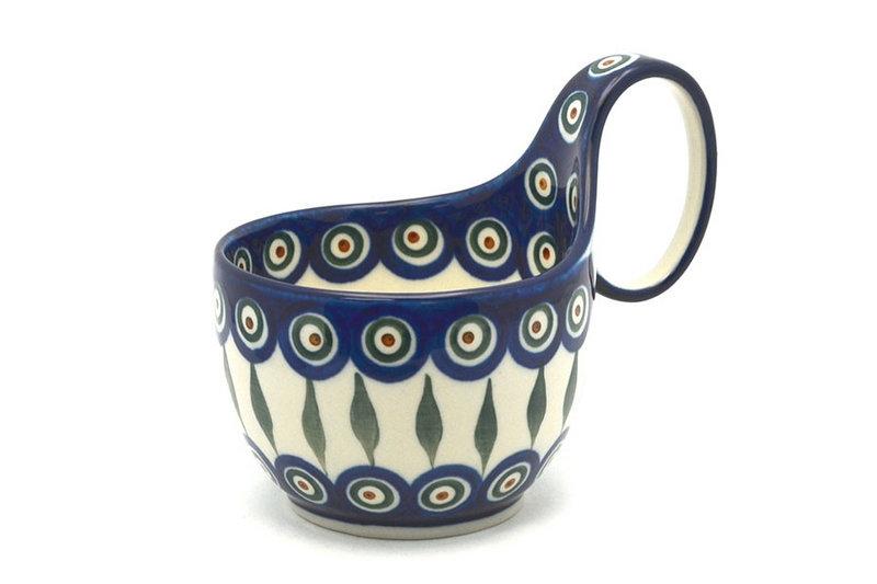 Ceramika Artystyczna Polish Pottery Loop Handle Bowl - Peacock 845-054a (Ceramika Artystyczna)