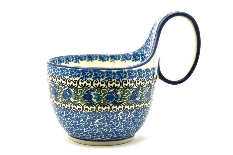 Ceramika Artystyczna Polish Pottery Loop Handle Bowl - Peacock Feather 845-1513a (Ceramika Artystyczna)