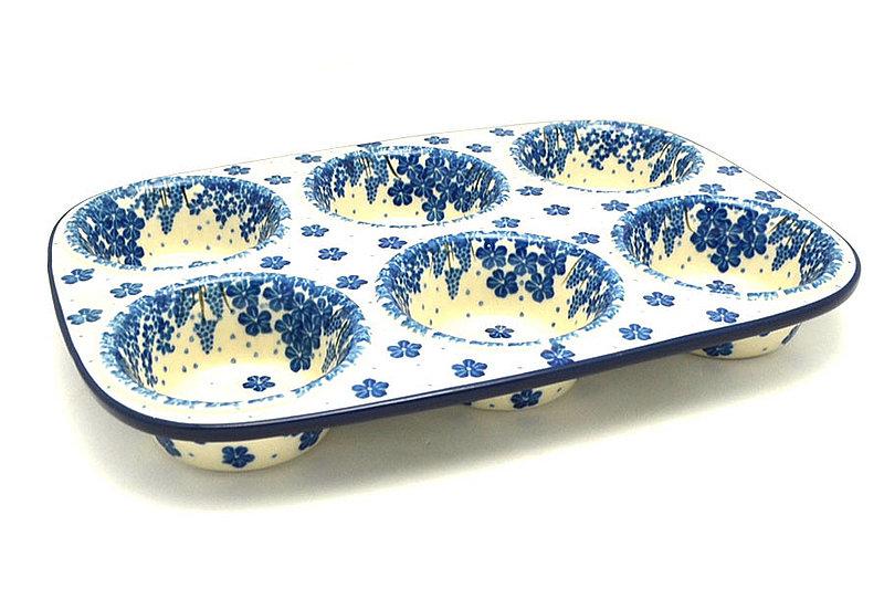 Ceramika Artystyczna Polish Pottery Muffin Pan - Blue Bayou 811-1975a (Ceramika Artystyczna)