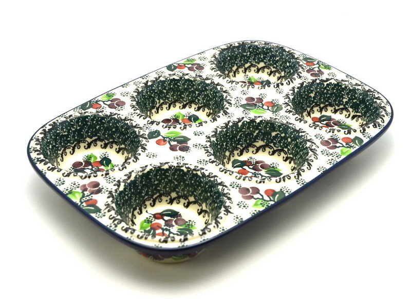 Ceramika Artystyczna Polish Pottery Muffin Pan - Burgundy Berry Green 811-1415a (Ceramika Artystyczna)