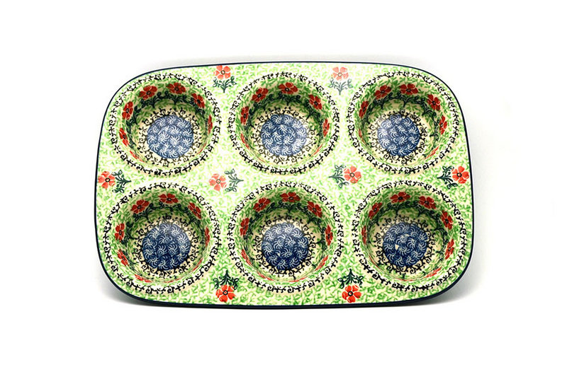 Ceramika Artystyczna Polish Pottery Muffin Pan - Maraschino 811-1916a (Ceramika Artystyczna)