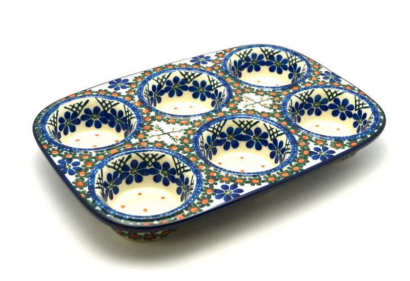 Ceramika Artystyczna Polish Pottery Muffin Pan - Primrose 811-854a (Ceramika Artystyczna)