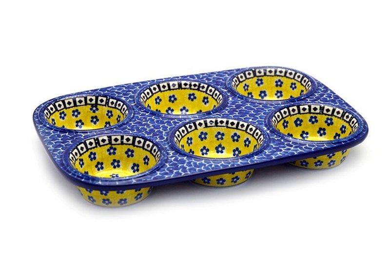 Ceramika Artystyczna Polish Pottery Muffin Pan - Sunburst 811-859a (Ceramika Artystyczna)