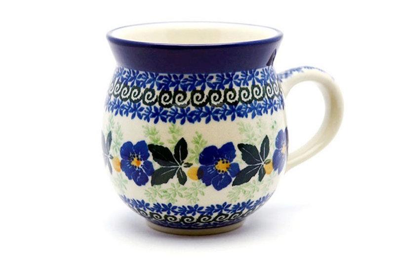 Ceramika Artystyczna Polish Pottery Mug - 11 oz. Bubble - Blue Pansy 070-1552a (Ceramika Artystyczna)
