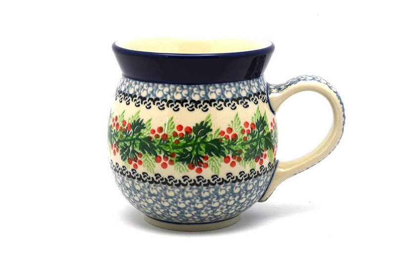 Polish Pottery Mug - 15 oz. Bubble - Holly Berry