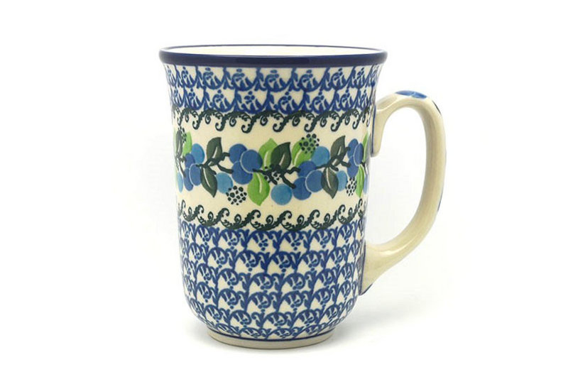 Ceramika Artystyczna Polish Pottery Mug - 16 oz. Bistro - Blue Berries 812-1416a (Ceramika Artystyczna)