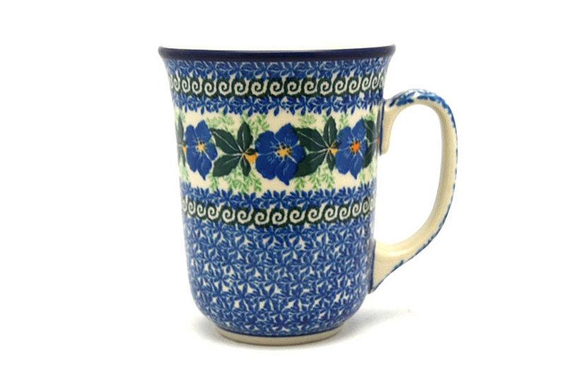 Ceramika Artystyczna Polish Pottery Mug - 16 oz. Bistro - Blue Pansy 812-1552a (Ceramika Artystyczna)