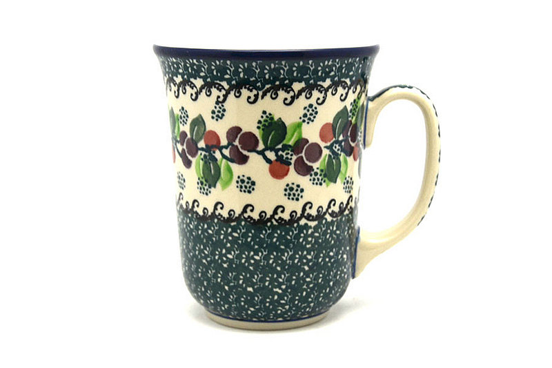 Ceramika Artystyczna Polish Pottery Mug - 16 oz. Bistro - Burgundy Berry Green 812-1415a (Ceramika Artystyczna)