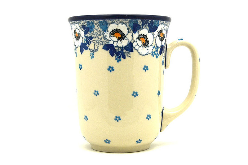 Ceramika Artystyczna Polish Pottery Mug - 16 oz. Bistro - White Poppy 812-2222a (Ceramika Artystyczna)