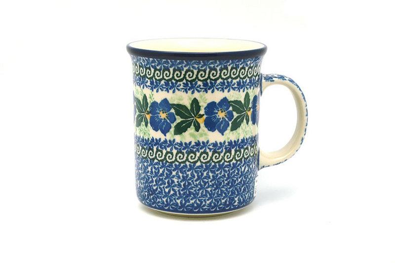 Ceramika Artystyczna Polish Pottery Mug - Big Straight Sided - Blue Pansy B13-1552a (Ceramika Artystyczna)