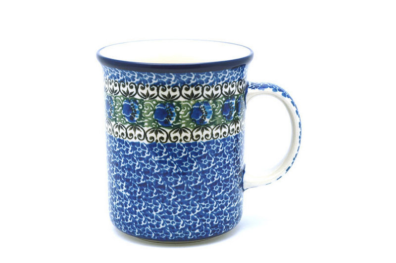 Ceramika Artystyczna Polish Pottery Mug - Big Straight Sided - Peacock Feather B13-1513a (Ceramika Artystyczna)
