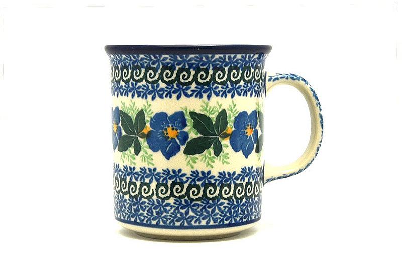 Ceramika Artystyczna Polish Pottery Mug - Straight Sided - Blue Pansy 236-1552a (Ceramika Artystyczna)