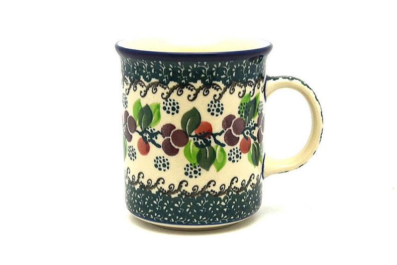 Ceramika Artystyczna Polish Pottery Mug - Straight Sided - Burgundy Berry Green 236-1415a (Ceramika Artystyczna)