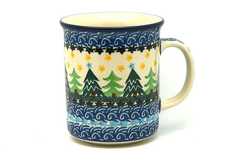 Polish Pottery Mug - Straight Sided - Christmas Trees