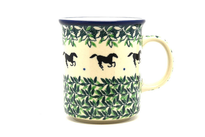Ceramika Artystyczna Polish Pottery Mug - Straight Sided - Dark Horse 236-2241a (Ceramika Artystyczna)