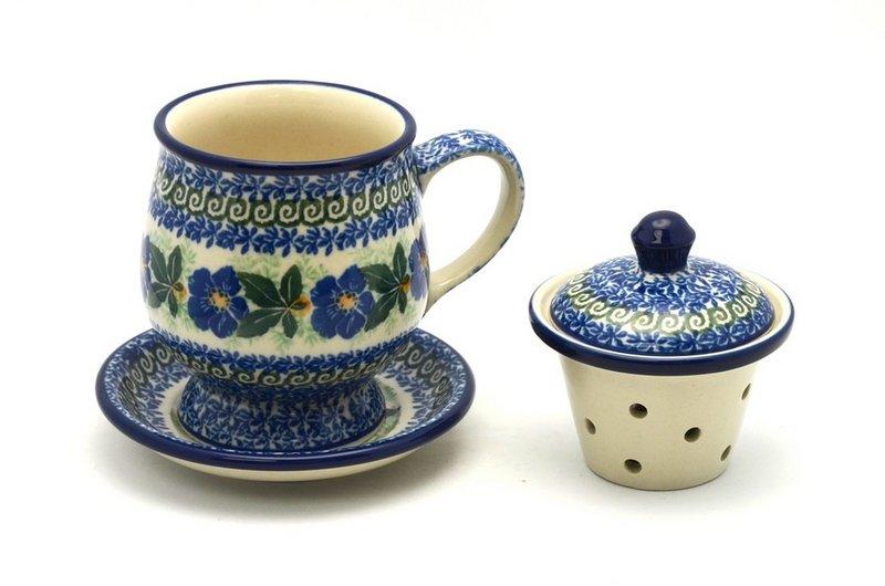 Ceramika Artystyczna Polish Pottery Mug - with Infuser - Blue Pansy 122-1552a (Ceramika Artystyczna)