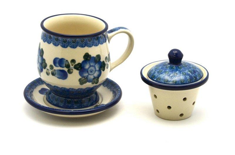 Ceramika Artystyczna Polish Pottery Mug - with Infuser - Blue Poppy 122-163a (Ceramika Artystyczna)