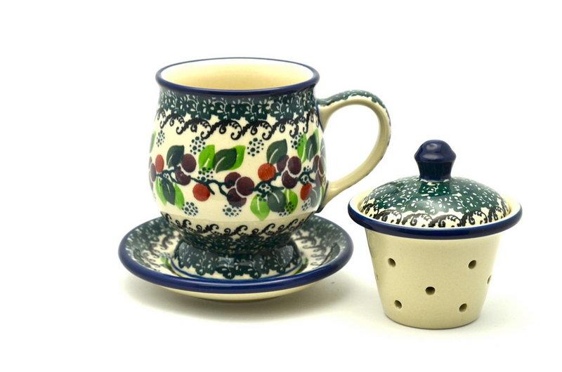 Ceramika Artystyczna Polish Pottery Mug - with Infuser - Burgundy Berry Green 122-1415a (Ceramika Artystyczna)