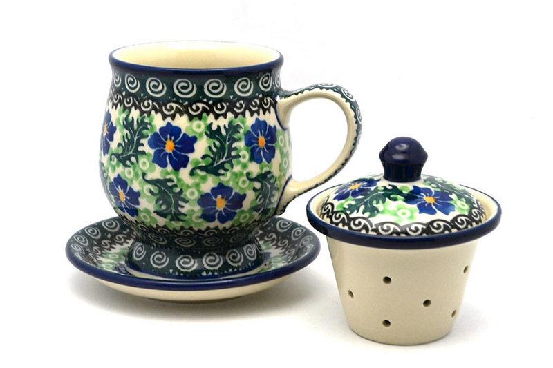 Ceramika Artystyczna Polish Pottery Mug - with Infuser - Sweet Violet 122-1538a (Ceramika Artystyczna)