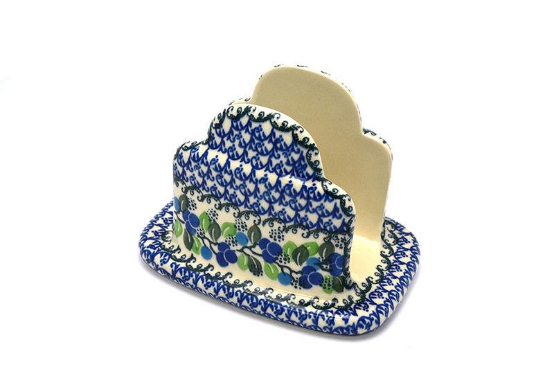 Ceramika Artystyczna Polish Pottery Napkin Holder - Blue Berries 487-1416a (Ceramika Artystyczna)