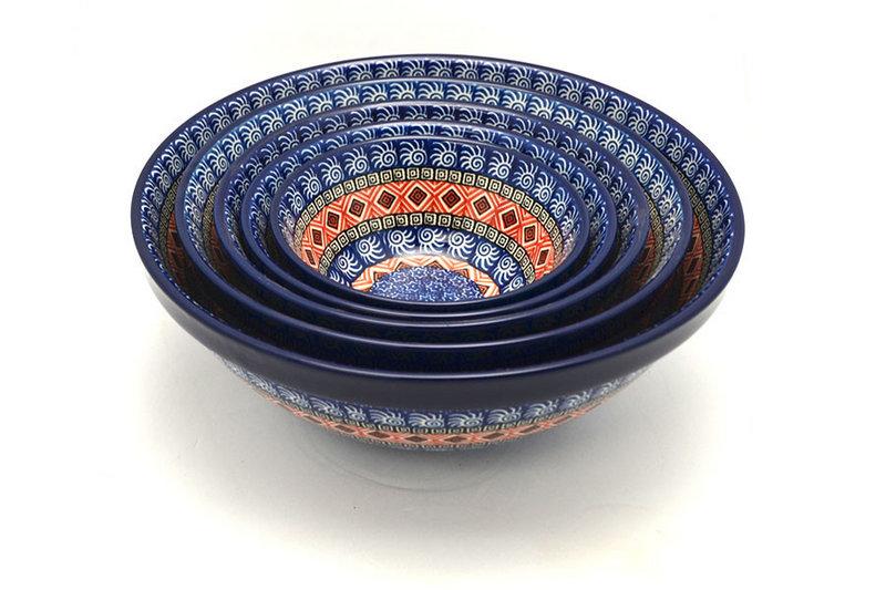 Ceramika Artystyczna Polish Pottery Nesting Bowl Set - Aztec Sun S05-1350a (Ceramika Artystyczna)