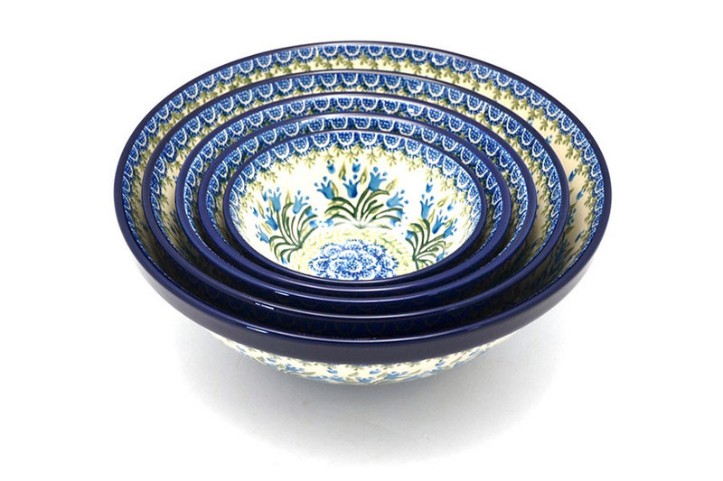 Ceramika Artystyczna Polish Pottery Nesting Bowl Set - Blue Bells S05-1432a (Ceramika Artystyczna)