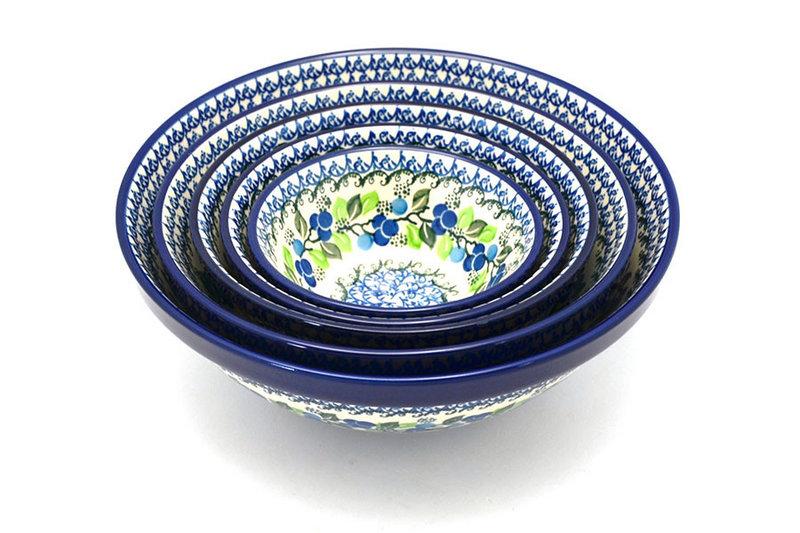 Ceramika Artystyczna Polish Pottery Nesting Bowl Set - Blue Berries S05-1416a (Ceramika Artystyczna)