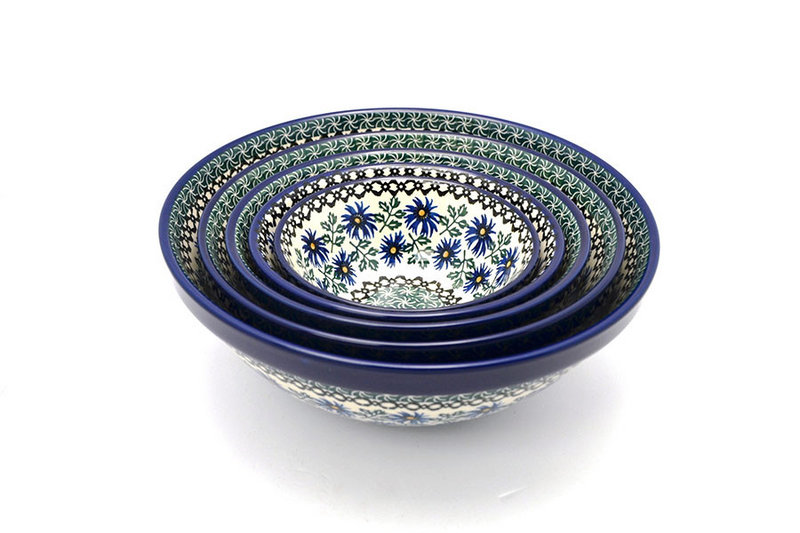 Polish Pottery Nesting Bowl Set - Blue Chicory